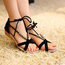 秒杀 新款韩版休闲鞋交叉绑带串珠罗马鞋低跟女鞋子露趾坡跟凉鞋 价格:25.00