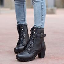 2012冬季新款女鞋 专柜正品短靴 真皮中跟马丁靴英伦中筒靴女靴子 价格:138.00