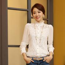 蕾丝雪纺衫2013新款长袖打底衫 秋装女装大码修身显瘦立领上衣女 价格:79.00