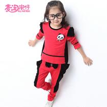 童装2013女童秋装新款 韩版时尚中大童 卡通长袖运动休闲儿童套装 价格:79.00