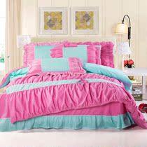 伊丝贝尼 韩版四件套全棉荷叶边床上用品公主蝴蝶结套件特价促销 价格:328.00