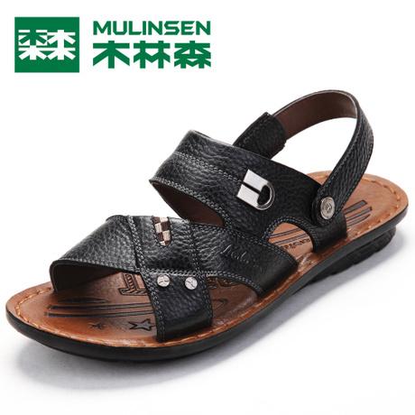 木林森正品2013新品夏季凉鞋真皮男凉拖休闲搭扣沙滩鞋MQ823120 价格:259.00
