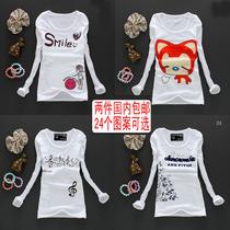2013新款新品中学生T恤甜美白色显瘦长袖简单t恤女款夏装圆领 价格:25.00