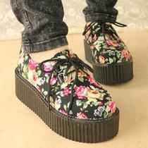 日本原宿TUK款骷髅头松糕鞋 欧美厚底摇滚女鞋 潮2013春款女单鞋 价格:24.90