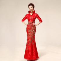 2013新款 回门装 立领 礼服礼仪 中国结红色敬酒装礼服 旗袍71 价格:139.00