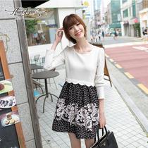 润乙一2013秋季装新款复古长袖圆领百褶裙雪纺拼色连衣裙子A3271 价格:179.00