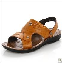 2013夏季新款卡力红蜻蜓男沙滩鞋真皮正品凉鞋凉拖皮凉鞋凉皮鞋 价格:89.00