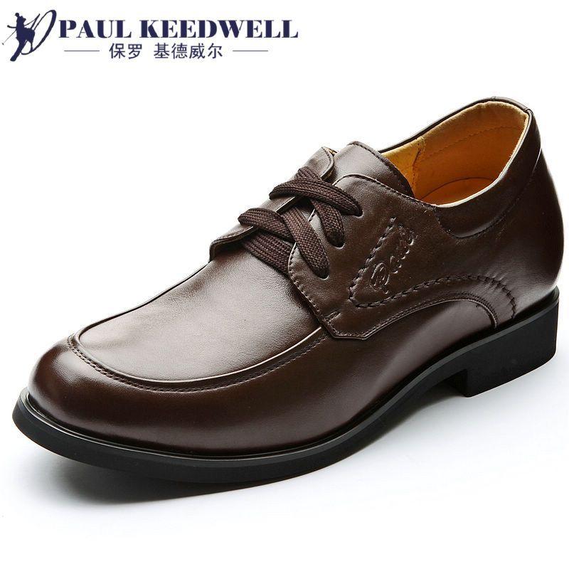 保罗透气男士内增高皮鞋37系带商务婚鞋特小码36商务休闲正装男鞋 价格:168.00