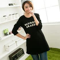 2013新款大码女装白色韩版宽松字母长袖 女士长款女t恤女秋装潮 价格:39.00