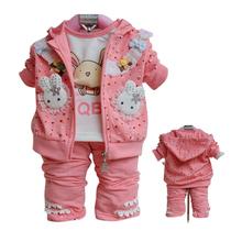 包邮童装2013新春秋装套装儿童三件套女童宝宝衣服钻兔韩版婴儿服 价格:52.00