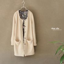 森女 纯棉加厚 简洁优雅 外贸原单 大毛衣外套 价格:156.00