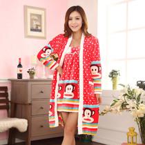 冬季新款睡衣法兰绒吊带睡袍两件套 价格:82.00