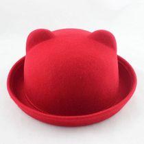 包邮 秋冬韩版可爱猫耳朵帽子 女 英伦羊毛呢卷边遮阳 圆顶小礼帽 价格:25.00