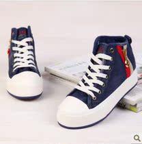 蓓尔2013新品 高帮厚底松糕鞋金属拉链帆布鞋女 韩版女鞋布鞋 价格:46.00