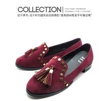 2013欧美 流苏铆钉装饰 圆头绒面中跟大码女单鞋39-40码 价格:8.80