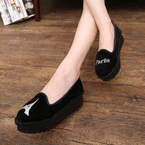 秋季学院风女款鞋英伦风女式松糕厚底鞋绒面平底单鞋公主鞋黑色 价格:59.00
