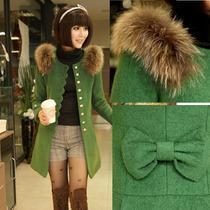 2013秋冬装新款韩版女装中长款毛呢外套修身毛领毛呢大衣妮子大衣 价格:198.00