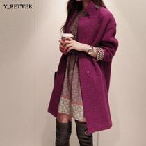 衣百淘2013韩版新款暗扣呢子大衣秋冬季外套中长款毛呢大衣女 价格:186.00