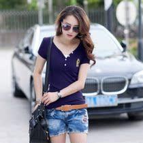 2013新款夏装韩版大码女装中长款女士t恤短袖上衣修身 价格:29.00
