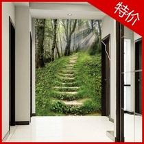 大型壁画定做制玄关背景墙纸壁纸阳光树林小路拓展空间风景 价格:40.00