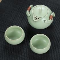 汇享 汝窑茶具 正品 一壶两杯 快客杯 茶具套装 办公室茶具 简易 价格:58.00