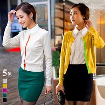 2013春装新品 韩版圆领撞色开衫 春季必备小外套 价格:79.00