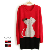 超值好货2013秋女装新款 小猫加厚圆领长袖中长款套头毛衣D7 价格:19.80