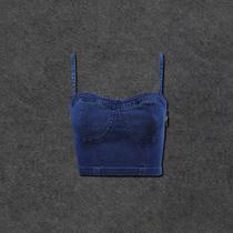 外贸原单 欧美单侧边 拉链牛仔吊带裹胸 吊带背心2色A477 价格:35.00