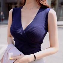 超低胸女装性感深V领紧身上衣 韩国春秋装背心长袖罗纹打底针织衫 价格:48.00