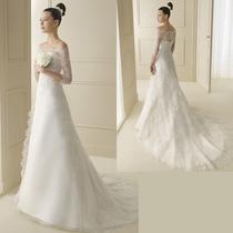 2013最新款婚纱礼服小清新优雅一字肩公主拖尾婚纱 新娘仪式纱 价格:680.00