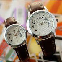 正品男表女表情侣手表一对价时尚学生皮带手表韩版日历防水石英表 价格:120.00