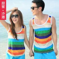 甜蜜沙滩 2013夏新款情侣背心工字条纹沙滩衣薄款女士小背心 价格:35.60