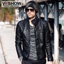 viishow2013冬装机车男式皮衣PU男士外套 男修身皮夹克新款男装 价格:399.00