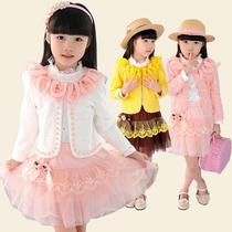 中大女童装 2013春秋新品甜美花朵领蕾丝公主裙长袖三件套打底裙 价格:109.00