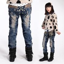 女大童棉裤加厚女童牛仔裤加绒长裤韩版儿童休闲裤冬款中大童裤子 价格:83.00