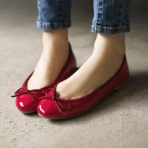 韩国女鞋正品代购进口13秋款韩彩英蝴蝶结漆皮平跟平底鞋单鞋k56 价格:248.00