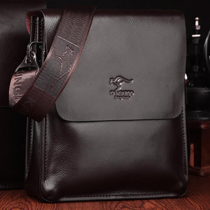 2013新款袋鼠男包 全牛皮 正品男士斜挎包休闲软皮包单肩头层牛皮 价格:248.00
