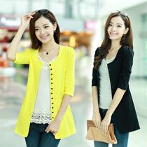 秋季女装2013品牌正品中长款小开衫单排扣中袖显瘦小外套圆领XXL 价格:118.00