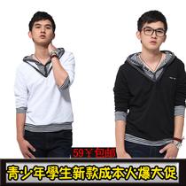 森马2013韩版潮男装新款青少年假两件春秋t恤男长袖V领学生上衣服 价格:59.00