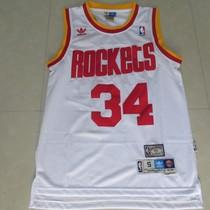 NBA火箭队 大梦 奥拉朱旺 34号 复古 球衣 网眼刺绣 篮球服 白 价格:65.00