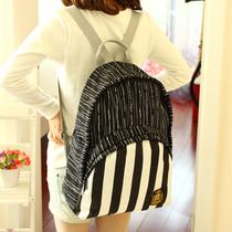 条纹时尚背包帆布包中学生书包女韩版可爱英伦双肩包学院风女包潮 价格:69.90