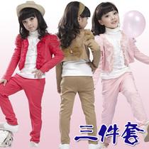童装女童2013秋装套装三件套中大童蕾丝花边长袖全棉韩版淑女套装 价格:68.00