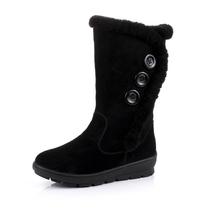 suoyiren 新款上市真皮中筒靴坡跟中跟 简约舒适雪地靴 12B033 价格:139.00