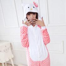 梦舒纷法兰绒kitty猫动物连体睡衣卡通长袖秋冬季家居服高级 价格:65.00