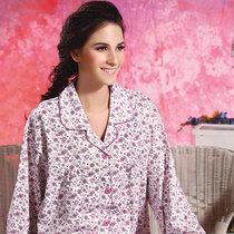 佐思曼女士睡衣秋冬季特体加肥加大码翻领开衫长袖花朵家居服套装 价格:80.00