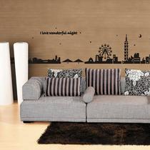 可移除城市夜景墙贴 城市之光 黑色城市铁塔墙贴贴纸沙发背景墙 价格:19.60