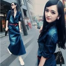 罗衣欧美复古修身包臀牛仔裙大码显瘦长袖连衣裙长款冰丝天丝849 价格:92.00