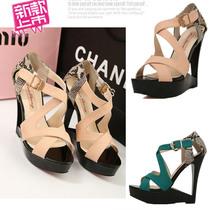 2013夏季新款欧美镂空跟水钻拼色一字扣罗马鱼嘴凉鞋坡跟女单鞋 价格:98.00