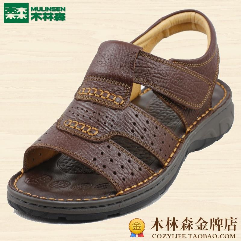 木林森男凉鞋沙滩鞋头层牛皮凉鞋舒适防滑2013新款 免邮 M1312447 价格:293.00