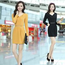 秋装新款韩版女装OL连衣裙 通勤韩版V领长袖修身显瘦包臀连衣裙 价格:99.00
